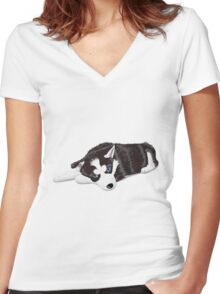 Cute dog sitting Women's Fitted V-Neck T-Shirt
