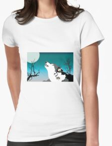 Dog barking in moon light Womens Fitted T-Shirt