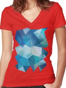 Abstract Geometric Polygon Sea Women's Fitted V-Neck T-Shirt