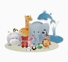 12 colourful zoo animals One Piece - Short Sleeve