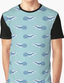 Blue Tadpole Pattern Graphic T-Shirt