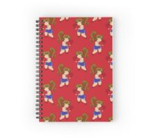 Little Boxing Girl Red Pattern Spiral Notebook