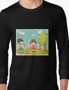 Cartoon girl and boy kids learning in park dog is sitting with girl Long Sleeve T-Shirt
