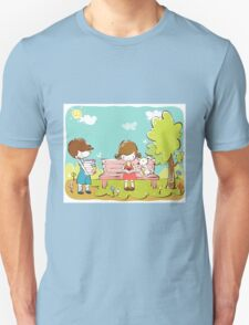 Cartoon girl and boy kids learning in park dog is sitting with girl T-Shirt
