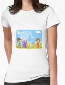 Cartoon girl and boy kids enjoy with candy with dog in park Womens Fitted T-Shirt