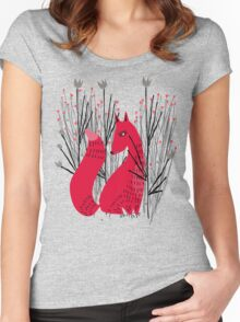 Fox in Shrub Women's Fitted Scoop T-Shirt