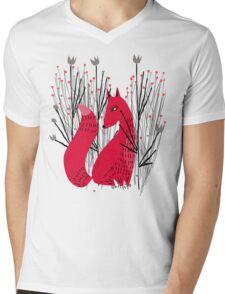 Fox in Shrub Mens V-Neck T-Shirt