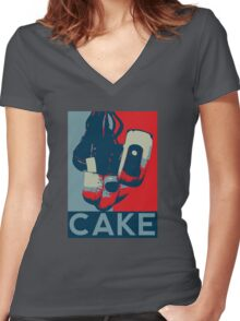 Vote for GLaDOS Women's Fitted V-Neck T-Shirt