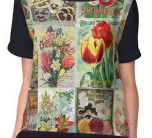 Vintage Flower Seed Packet Illustrations 1 Mosaic Chiffon Top