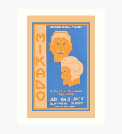 Mikado Gilbert and Sullivan operetta Cincinnati theatre ad Art Print