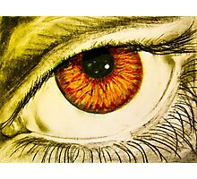 Drawing of eye with orange pupil Photographic Print