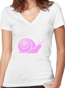 Snail pink Women's Fitted V-Neck T-Shirt