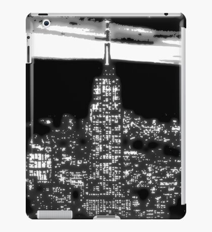 Modern abstract vector art, New York City 1930 at night black and white iPad Case/Skin