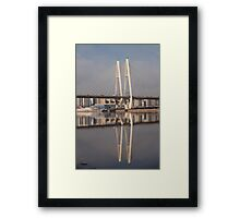 Pylon cable-stayed bridge reflection Framed Print