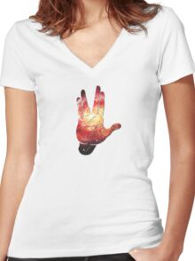 Deep Space Galaxy (Messier 101 Remix) Women's Fitted V-Neck T-Shirt