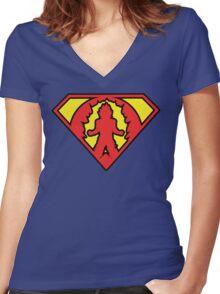 Superman vs Goku - Super Saiyan Symbol Women's Fitted V-Neck T-Shirt