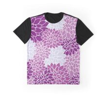 Dahlia Flowers, Petals, Blossoms - Blue Purple Graphic T-Shirt