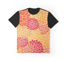 Dahlia Flowers, Petals, Blossoms - Orange Red Graphic T-Shirt