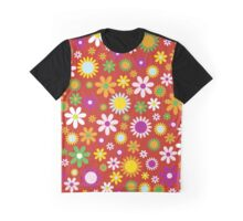 Flowers, Petals, Blossoms - Red Green Orange Graphic T-Shirt