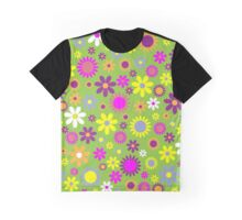 Flowers, Petals, Blossoms - Green Purple Pink Graphic T-Shirt
