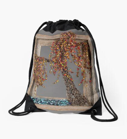 Autumn Willow Tree - Dark Drawstring Bag
