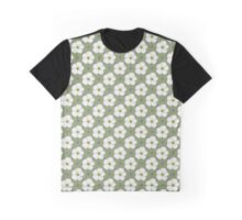 Flowers, Petals, Blossoms, Dots - Green White Graphic T-Shirt