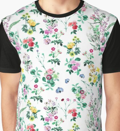 Roses, Moth Orchids, Lilies - Green Pink Blue  Graphic T-Shirt