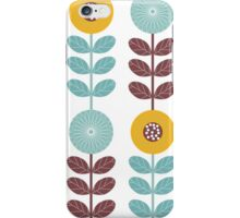 Flowers, Leaves, Plant Stems - Blue Yellow Brown iPhone Case/Skin