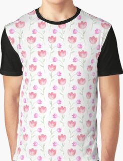 Flowers, Leaves, Plant Stems - Pink Green White Graphic T-Shirt