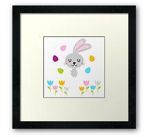Beautiful adorable Easter bunny set Framed Print