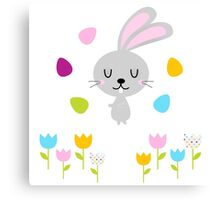 Beautiful adorable Easter bunny set Canvas Print