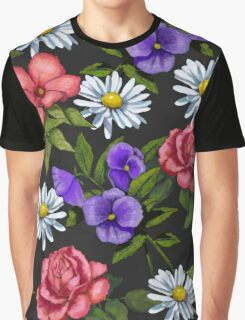 Flowers on Black, Daisies, Roses, Pansies: Art Graphic T-Shirt