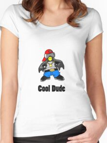 Cool Penguin Rapper Women's Fitted Scoop T-Shirt