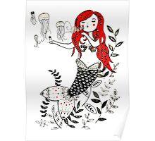Jellyfish Bubble Mermaid Poster