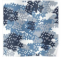 Pixel Blue Camouflage Poster