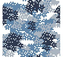 Pixel Blue Camouflage Photographic Print