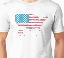 USA map with hand-drawn flag Unisex T-Shirt