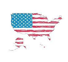 USA map with hand-drawn flag Photographic Print