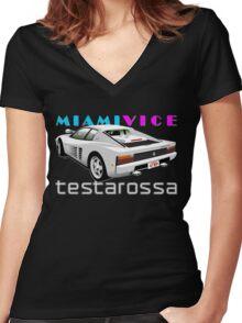Ferrari Testarossa from Miami Vice Women's Fitted V-Neck T-Shirt