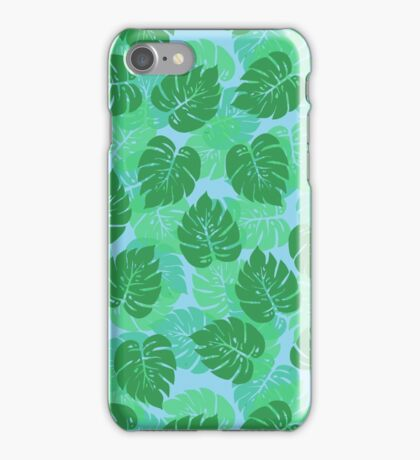 Big Monstera Tropical Leaf Hawaii Rain Forest Aqua and Green  iPhone Case/Skin