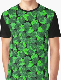 Big Monstera Tropical Leaf Hawaii Rain Forest Black and Green  Graphic T-Shirt
