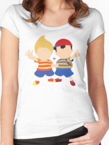 Ness & Lucas (Orange) - Super Smash Bros. Women's Fitted Scoop T-Shirt
