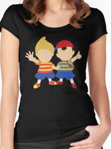 Ness & Lucas (Black) - Super Smash Bros. [Requested] Women's Fitted Scoop T-Shirt