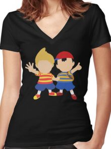 Ness & Lucas (Black) - Super Smash Bros. [Requested] Women's Fitted V-Neck T-Shirt