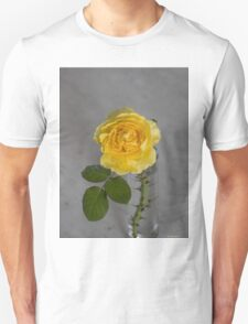 Single Yellow Rose with Blue Unisex T-Shirt