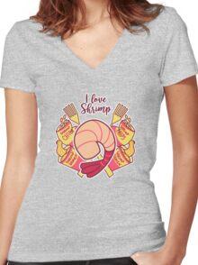 I Love Shrimp Women's Fitted V-Neck T-Shirt
