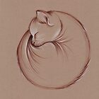 Slumber - Sleeping Cat Zen Drawing by Rebecca Rees
