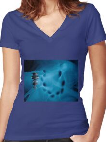 Space terminal  Women's Fitted V-Neck T-Shirt
