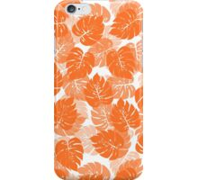 Big Monstera Tropical Leaf Hawaii Rain Forest Orange on White iPhone Case/Skin