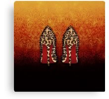 Leopard Louboutin on Gradient orange black arabesque  Canvas Print